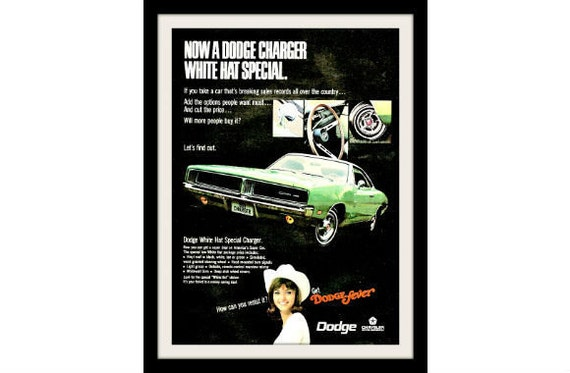 """1969 DODGE CHARGER Car Ad """"Cowgirl"""" Vintage Advertising Wall Art Decor Print"""
