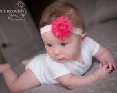 Shabby Chic Flower Headband, 2 flower clips and 1 elastic headband, Newborn Baby Photo Prop