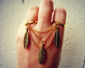 golden feathers double ring, slave ring, chains ring, connected rings, tribal feather ring, bird ring
