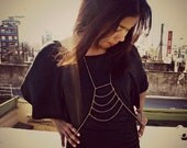 gold body chain, chain vest, body harness, statement necklace, unique necklace