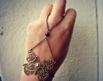 butterfly hand chain, butterfly ring bracelet, butterfly hand piece, bracelet ring, slave ring, ring bracelet, slave bracelet