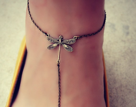 unique dragonfly anklet, ankle piece, leg piece, foot piece. dragonfly jewelry, dragonfly accessory