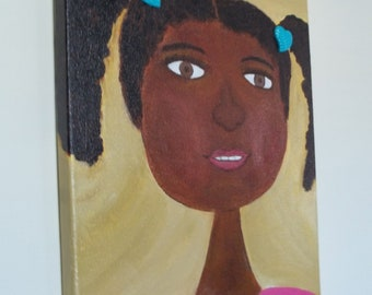 Black Girl, with pony tails - Bushy Hair - Natural Hair - Original Canvas Art -