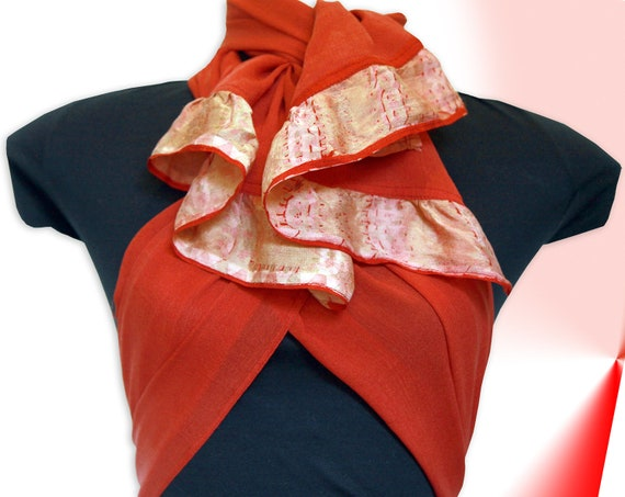 Extra Long Upcycled Sari Scarf  - Red Silk Scarf with Printed Frill
