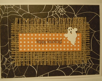 "Halloween Handmade Greeting Card with Ghost and ""Happy Haunting"""