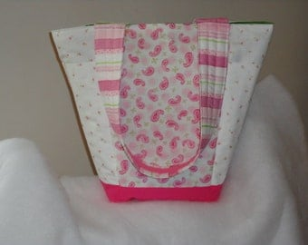 FINISHED Pink Paisley and Flowers Out N About Tote Bag Purse by Sew Practical, Mom and Pop Craft