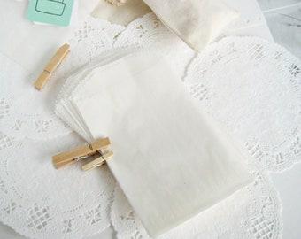100 White Glassine Paper Bags 3.25X4.75 inch