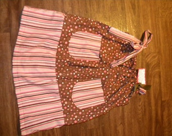 Pink and Brown stripes and circles dress size 7