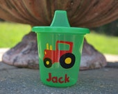 5 personalized  red and yellow Tractor green sippy cups party favors
