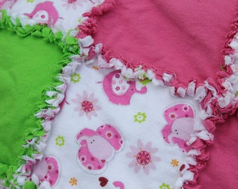 Girls Pink Elephant Rag Quilt for Toddler Bed