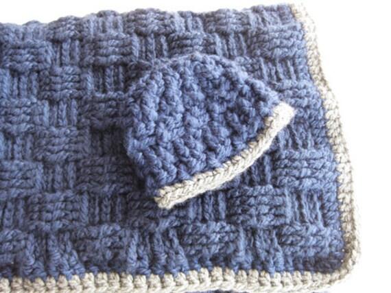 Crochet Basket Weave Afghan Baby Blanket Pattern And Tutorial : Crochet Pattern Baby Blanket and Hat Basketweave Blue Gray