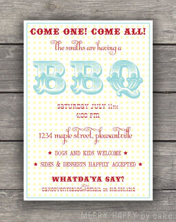 Summer Backyard Party Invitation : Backyard Barbecue Party Invitation  Summer BBQ