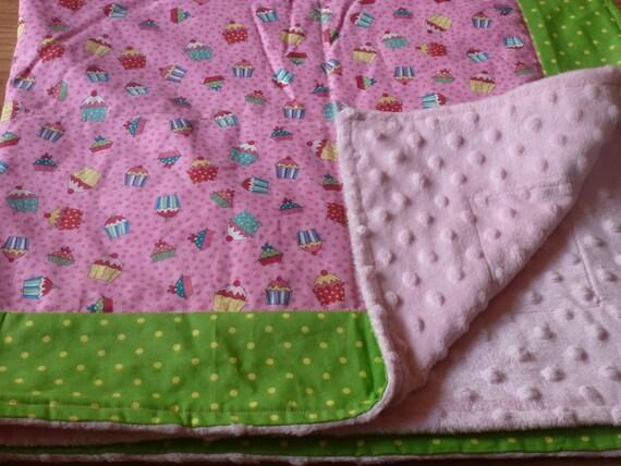 Pink and Green Cupcake Snuggle Blanket