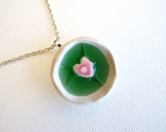 Ceramic necklace green glass pink heart white bowl, gift for her