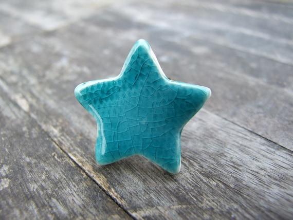 Turquoise star ring, ceramic statement ring