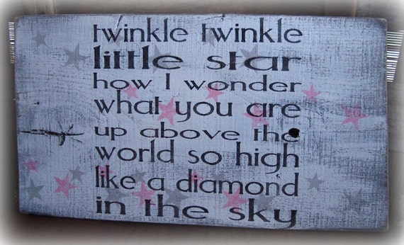 """Rustic Shabby Cottage Chic Nursery Sign """"Twinkle Twinkle Little Star"""" Hand painted, reclaimed barn wood. Pink, white, gray, black."""