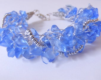 Blue and Silver Wire Crochet Bracelet