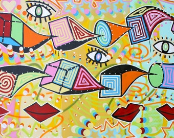 FREE SHIPPING ORIGINAL original abstract large contemporary pop art fine art cubism acrylic painting