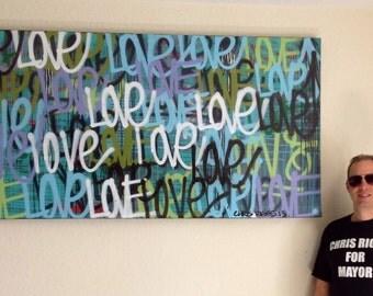 ORIGINAL love contemporary painting fine art acrylic urban word modern peace pop art painting