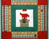 SANTA TABLE MAT, Santa table topper, small wall hanging, red, green