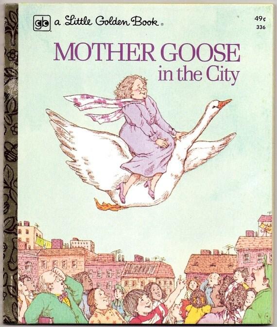 MOTHER GOOSE In The City Vintage Little Golden Book Illustrated by Dora Leder 1975