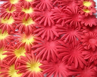 Red Paper flower cuts 36 pcs/  Scrap booking flowers / card making