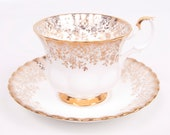 Vintage Royal Albert Footed Teacup Bone Chine England White and Gold