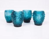 Vintage Teal Juice Glasses Raised Grapevine Design Set of Four