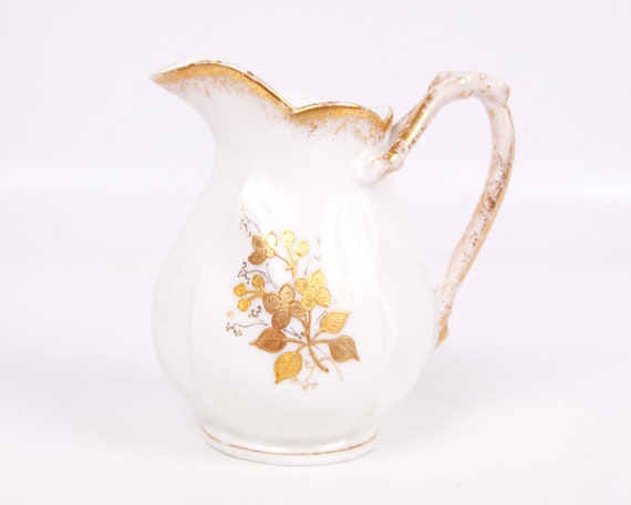 Vintage 1920 Limoges Creamer LS&S France White Embossed Gold Pitcher Hand Painted