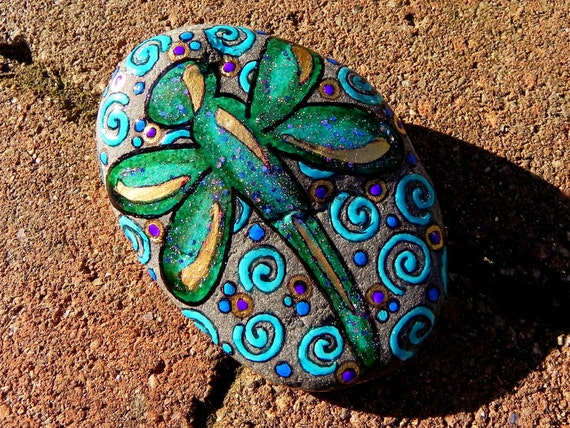 Summer Dragonfly /Painted Rock /Sandi Pike Foundas