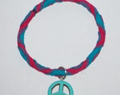Hot pink and blue stretch peace bracelet, anklet or hair tie.  3 in 1  FREE shipping