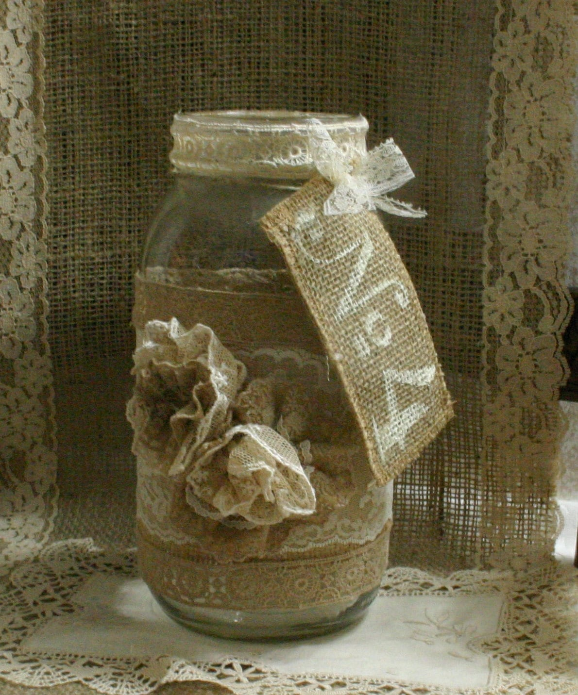 Burlap Wedding: Burlap Wedding FLOWER Vase ViNTAGE LACE Candle Holder FALL