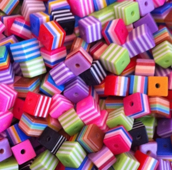 50ct Striped Square Beads 8mm Resin Beads - Striped Mixed Colors (SBSTSQ8-1000)