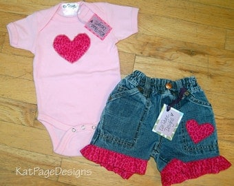 SALE!!One of a kind Applique heart Set - Onesie & Pant set