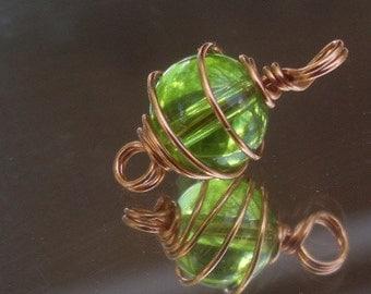 Illuminated Green Glass dangle