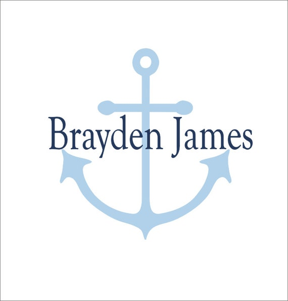 Personalized Anchor Vinyl Wall Decal Nautical Wall Decor Nautical Anchor Vinyl Wall Decal Nautical Nursery Bedroom Wall Decal Housewares