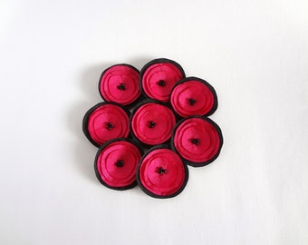 Hot Pink and Black  Poppies Embellishment