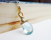 Swiss Blue Topaz Necklace - Sterling Silver, 14K gold fill, wire wrapped, December birthstone