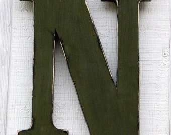 "Uppercase Wall Hanging Rustic Wooden Letter N Distressed Painted Olive Green 12"" tall Wood Name Letters, Custom Made"