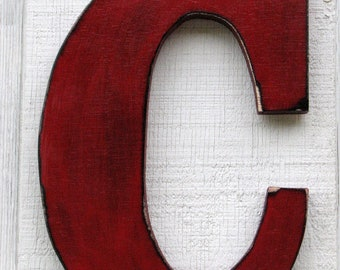 """Wooden Wall Letter """"C"""" Rustic distressed in True Red nursery decor events parties photo prop any letter and color you want"""