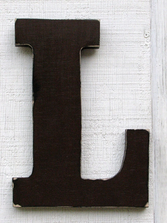 rustic wooden letter l distressed in dark chocolate12 tall solid wood name letters