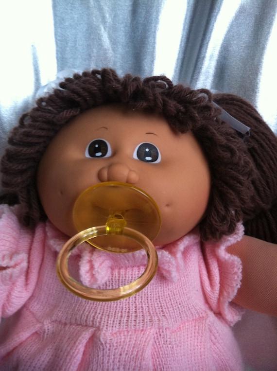 Vintage Cabbage Patch Kid Girl Brown Eyes Brown Pacifier