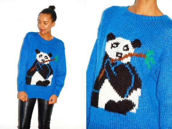 Vtg Panda Print Blue Black White Knitted Sweater
