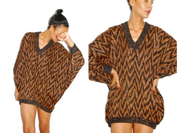 Vtg Metallic Zig Zag Print Batwing Sleeve Oversize Sweater