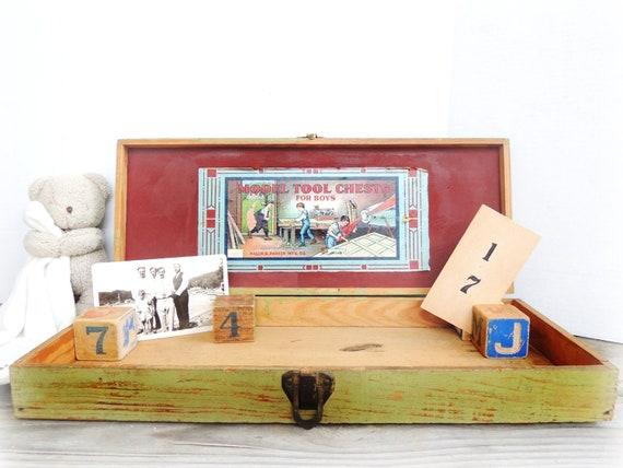 Vintage Wood Tool Chest Light Green Child's Tool Box Primitive Rustic Storage Decor