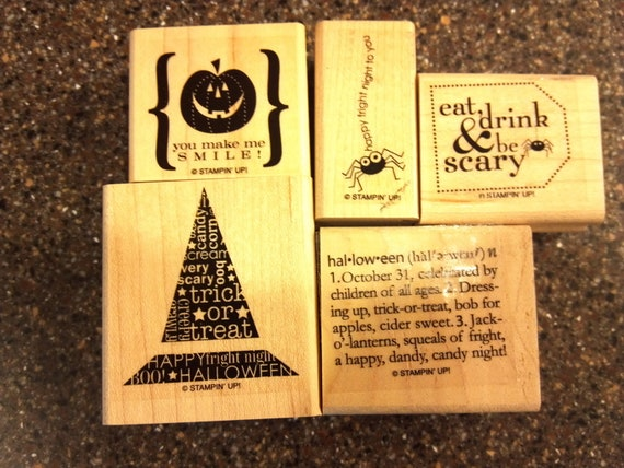 "Stampin Up ""Eat, Drink & Be Scary"" Wood Mount Stamp Set"
