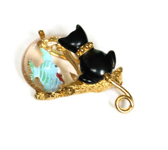Vintage Cat and Fish Bowl Brooch Gold Crown Inc.