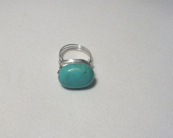 Genuine Turquoise Stone Wire Wrapped Ring with Sterling Silver wire