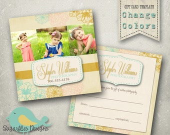 5x5 Gift Card Template -- Vintage Gardens