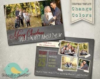 Christmas Card PHOTOSHOP TEMPLATE - Family Christmas Card CHALKBOARD